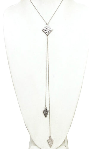 Boho Worn Silver Hammered Arrow Pendent Lariat Necklace