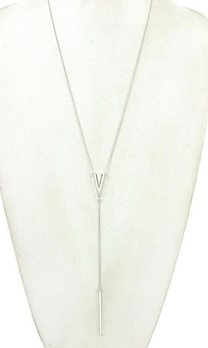 Edgy Silver Burnished Triangle Pendant Necklace