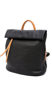 Barker Black Vegan Leather Backpack Crossbody HandBag