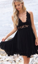 Adalie Black Lace Crossback Halter Dress