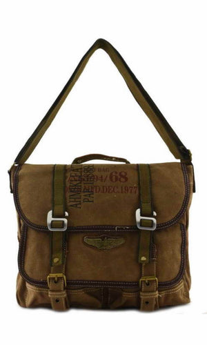 Battery Park Coffee Brown Unisex Military Utility Canvas Messenger Bag