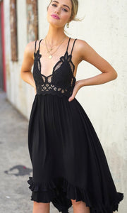 Aadelie Olive Crochet Lace Halter Dress