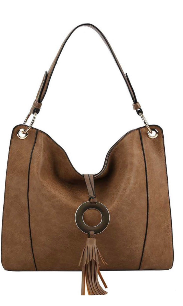 Bolivia Stone Tassel Vegan Leather Hobo Bag