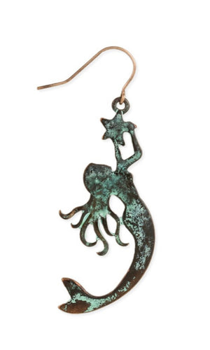 Hammered Patina Weathered Ocean Mermaid Dangle Earrings