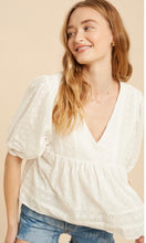 Anielle White Allover Embroidered Babydoll Blouse Top