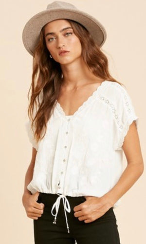 Austria Off White Boho Embroidered Shirt Top