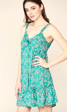 SALE! Abeyance Teal Green Boho Floral Mini Sun Dress
