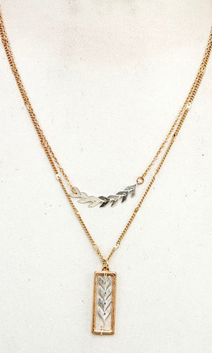 Nature Mixed Metal Leaf Pendant Layered Necklace