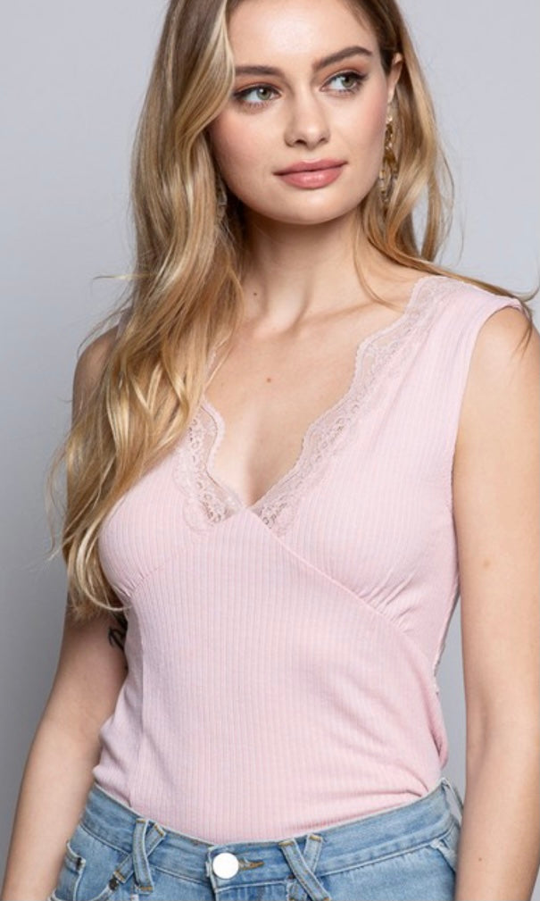 Aluna Pink Lace Trim Ribbed Knit Tank Top