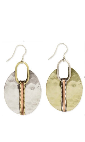 Hammered Mixed Metal Dangle Earrings