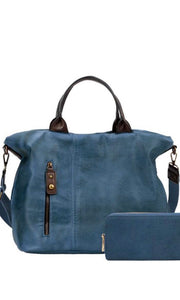 Belgium Vintage Blue Vintage-Inspired Vegan Leather Satchel Bag