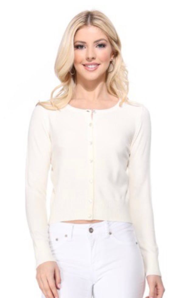 Andi Ivory Button Front Classic Cardigan Sweater