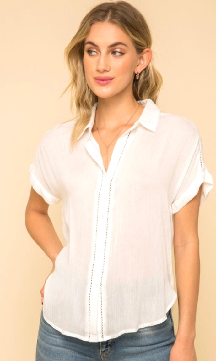 Ariel Ivory Textured Lace Trim Button Front Shirt Top