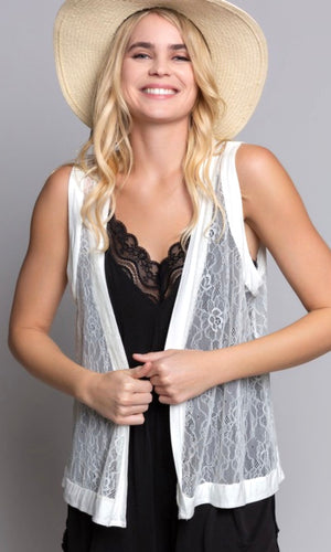 Alycia White Lace Luxe Knit Layering Vest