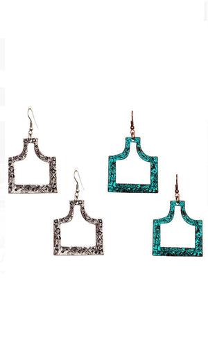 Bohemian Hammered Etched Metal  Drop Earrings
