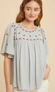Ari Powder Blue Embroidered Babydoll Blouse Top