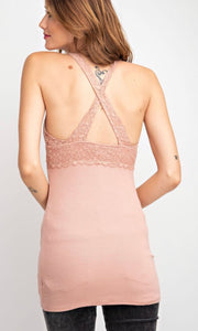 Aberyl Mauve Lace Trim Bralette Knit Tank Top