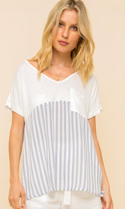 Aniara White Navy Mixed Stripe Shirt Top