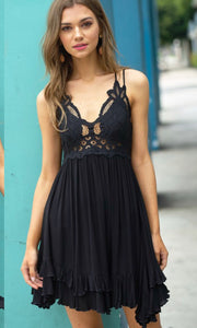 Abde Black Lace Crossback Halter Dress