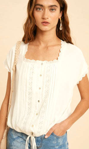Amina Off White  Boho Embroidered Shirt Top