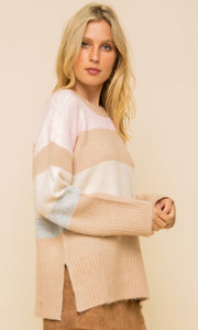 Alphere Taupe Multi Stripe Tunic Sweater Top