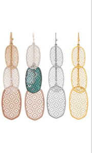 Chic Metal Filigree Teardrop Oval Drop Earring