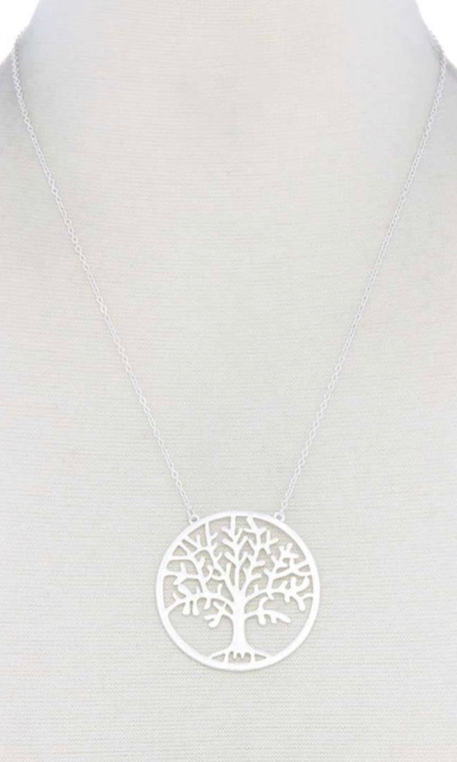 Tree Of Life Worn Silver Round Shape Pendant Necklace Patina