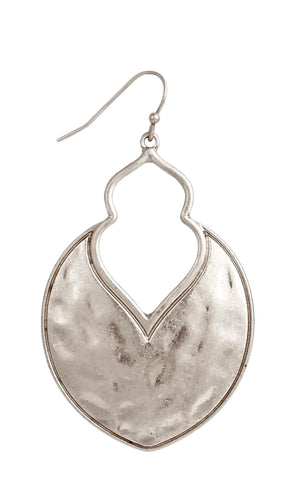 Rustic Hammered Silver Textured Arabesque Dangle Earrings