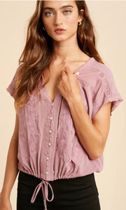 Austria Dark Mauve Boho Embroidered Shirt Top