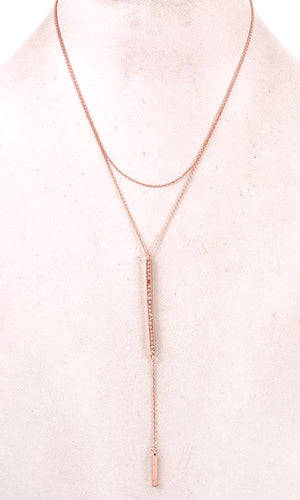 Chic Bar Pendant Rose Gold Layered Necklace