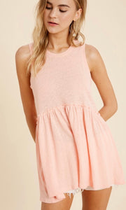 Airway Coral Babydoll Ruffled Tunic Top