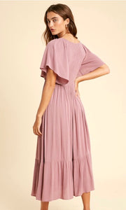 Arista Dusty Mauve Empire Smocked Midi Dress