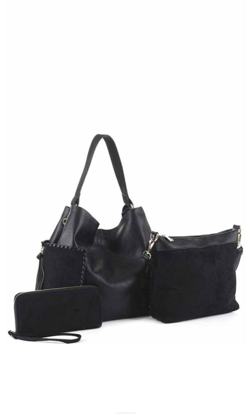 Bologna 3-In-1 Set Black Vegan Leather Whipstitch Handbag