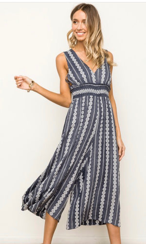 Axia Navy Reverse Print Smocked Cutout Romper Jumpsuit
