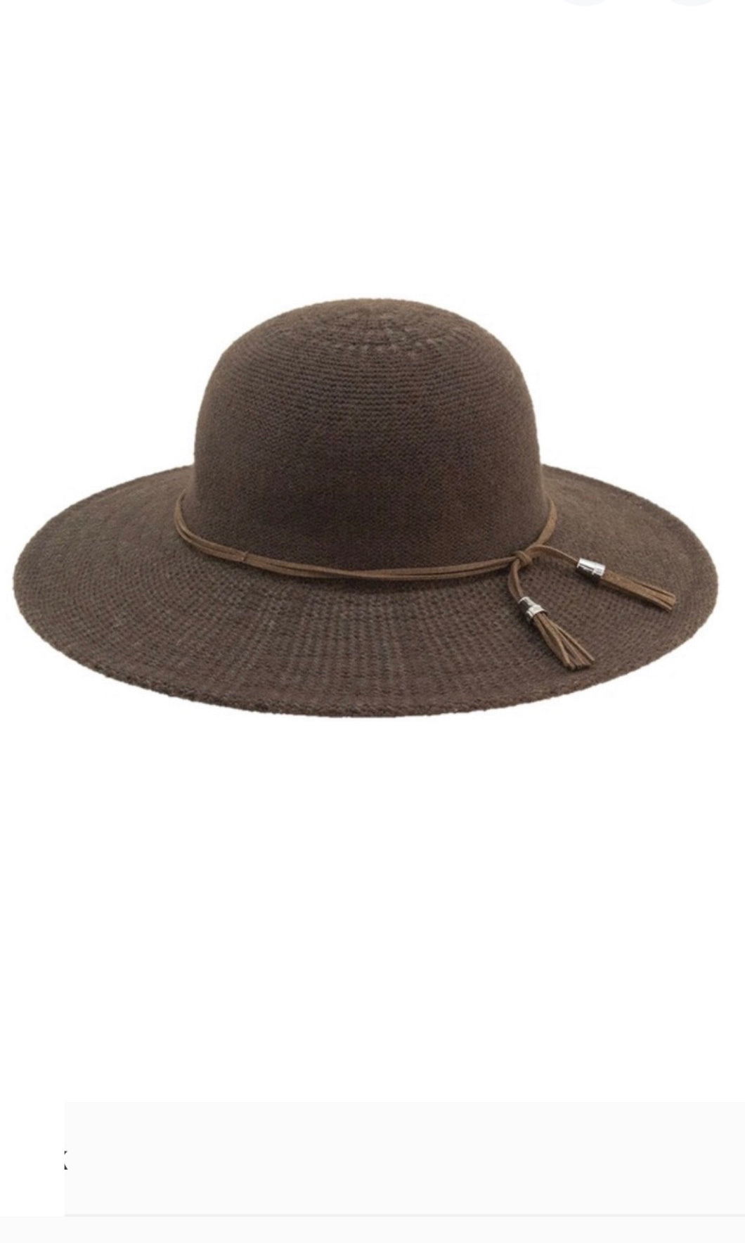 Crawford Brown Boho Suedette Braid Floppy Wide Brim Hat