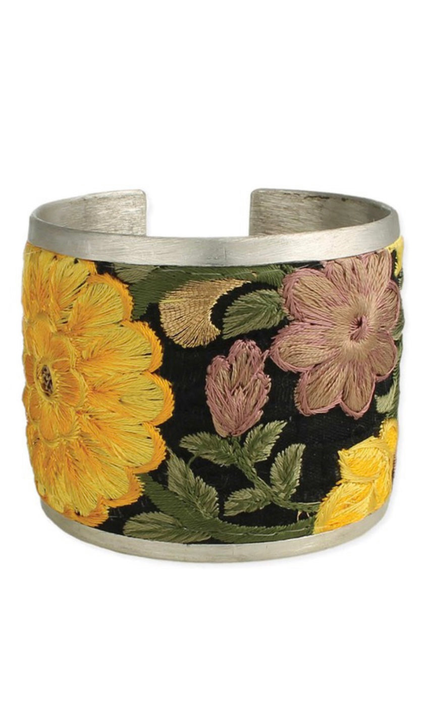 Bazaar Yellow Flower Embroidered Silver Cuff Bracelet