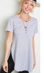 Astro Heather GreyHeather Grey Crew Neck Soft Collar Split Sides Knit Top
