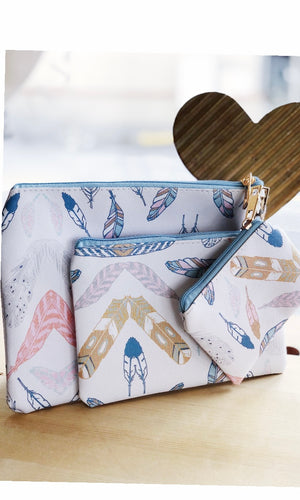 Feathers Pack of 3 Printed Cotton Cosmetic Bags