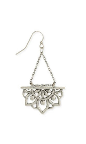 Antique Silver Rising Lotus Dangle Earrings