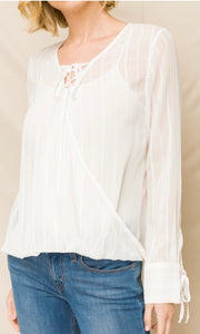 Alicante Off White Surplice Lace-Up Shirt Top