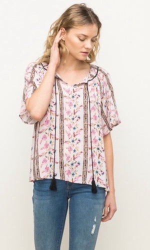 Belle Blush Pink Floral Peasant Shirt Top