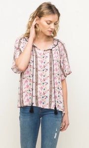SALE! Belle Blush Pink Floral Peasant Shirt Top