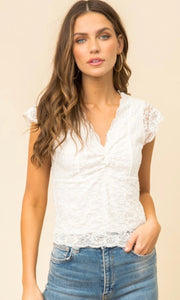 Astrid White Allover Scalloped Lace Crop Top Shirt