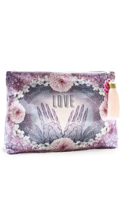 "Papaya Purple ""Henna"" Large Tassel Pouch Clutch Purse"