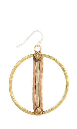 Hammered Gold Mixed Metal Circle Bar Round Earrings