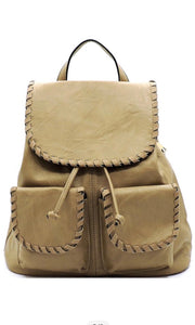 Boston Tan Vegan Leather Whipstitched Double Pocket Backpack Crossbody HandBag