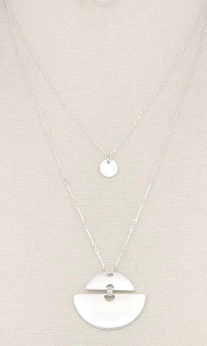 Half Circle Washed Silver Layered Necklace