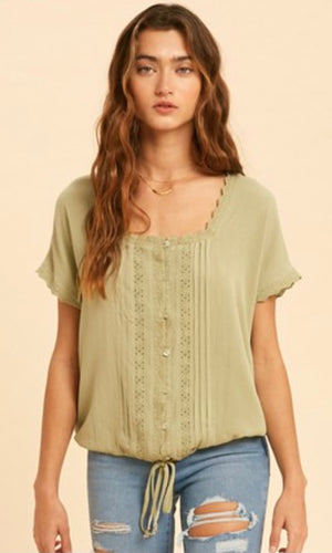 Amina Avacado  Boho Embroidered Shirt Top