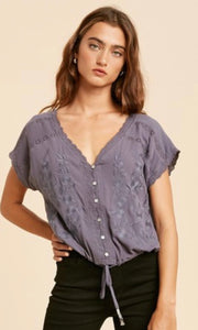 Austria Slate Charcoal Boho Embroidered Shirt Top