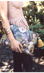 "Papaya Brown ""Grow"" Large Tassel Pouch Clutch Purse"
